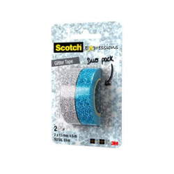 Ruban Scotch® Expression Créatif Glitter DuoPack Silver/Blue 15mm x 5m