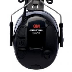 Casque 3M™ PELTOR™ ProTac™ III, noir, 31 dB, noir, monté sur casque