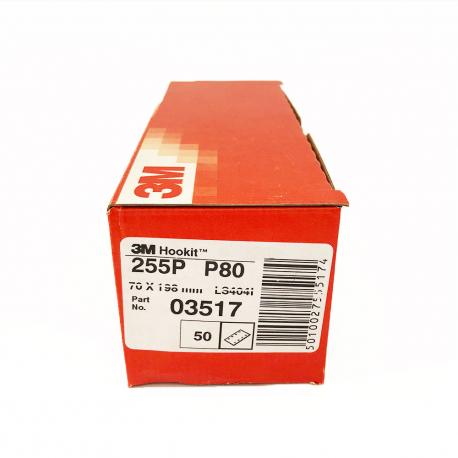 3M 255P feuille Hookit P80 70x198 mm 8 trous