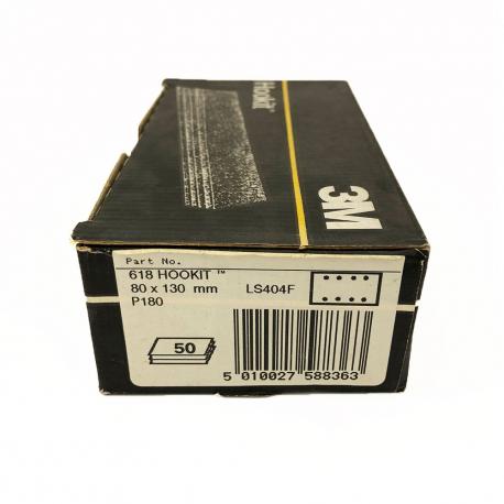 3M™ 618 feuille à sec P180 80x130 mm 8 trous